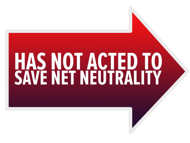 Has not acted to save Net Neutrality - Arrow Lawn Sign